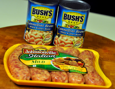 Bush's Best Cannellini Beans (White Kidney Beans) and Johnsonville Mild Italian Sausage - Photo by Taste As You Go