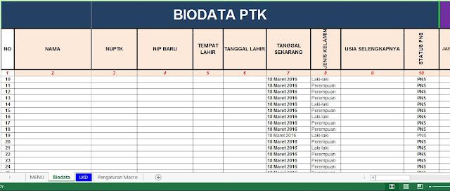 Download Aplikasi Biodata PTK 2016 Format Excel Lengkap