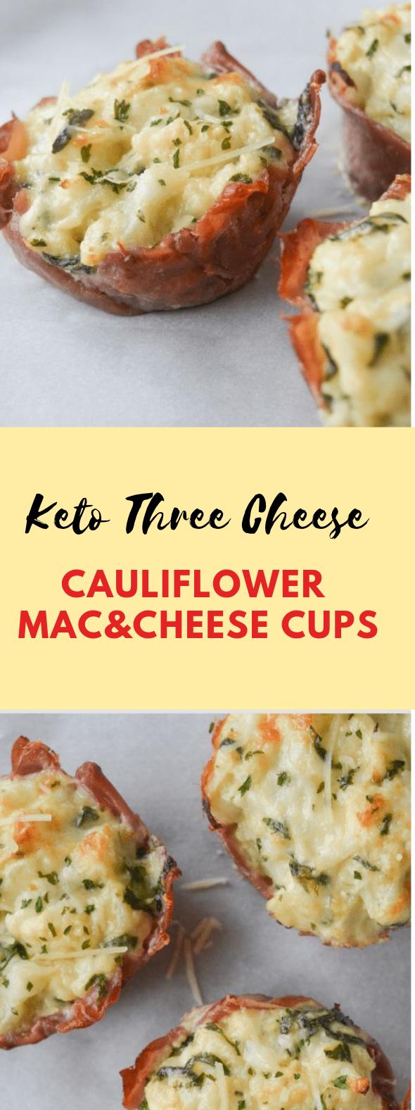 KETO THREE CHEESE CAULIFLOWER MAC AND CHEESE CUPS #delicious #keto