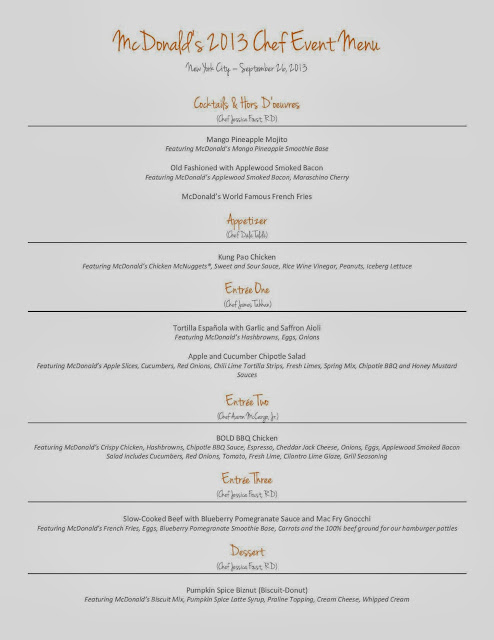 Menu for the McDonald's 2013 Chef Event