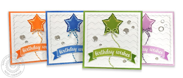 Sunny Studio Stamps: Bold Balloons Color Layering Start Birthday Card Set by Mendi Yoshikawa