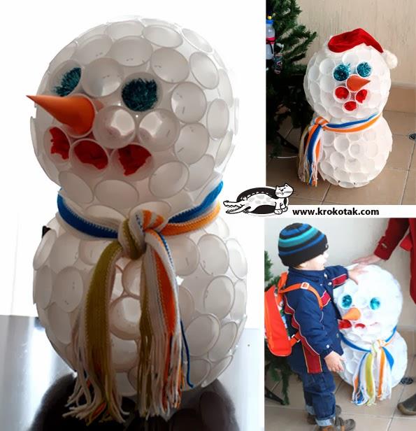 DIY  Come fare un pupazzo di neve con i bicchieri di plastica - How ... 9cbea6503a15