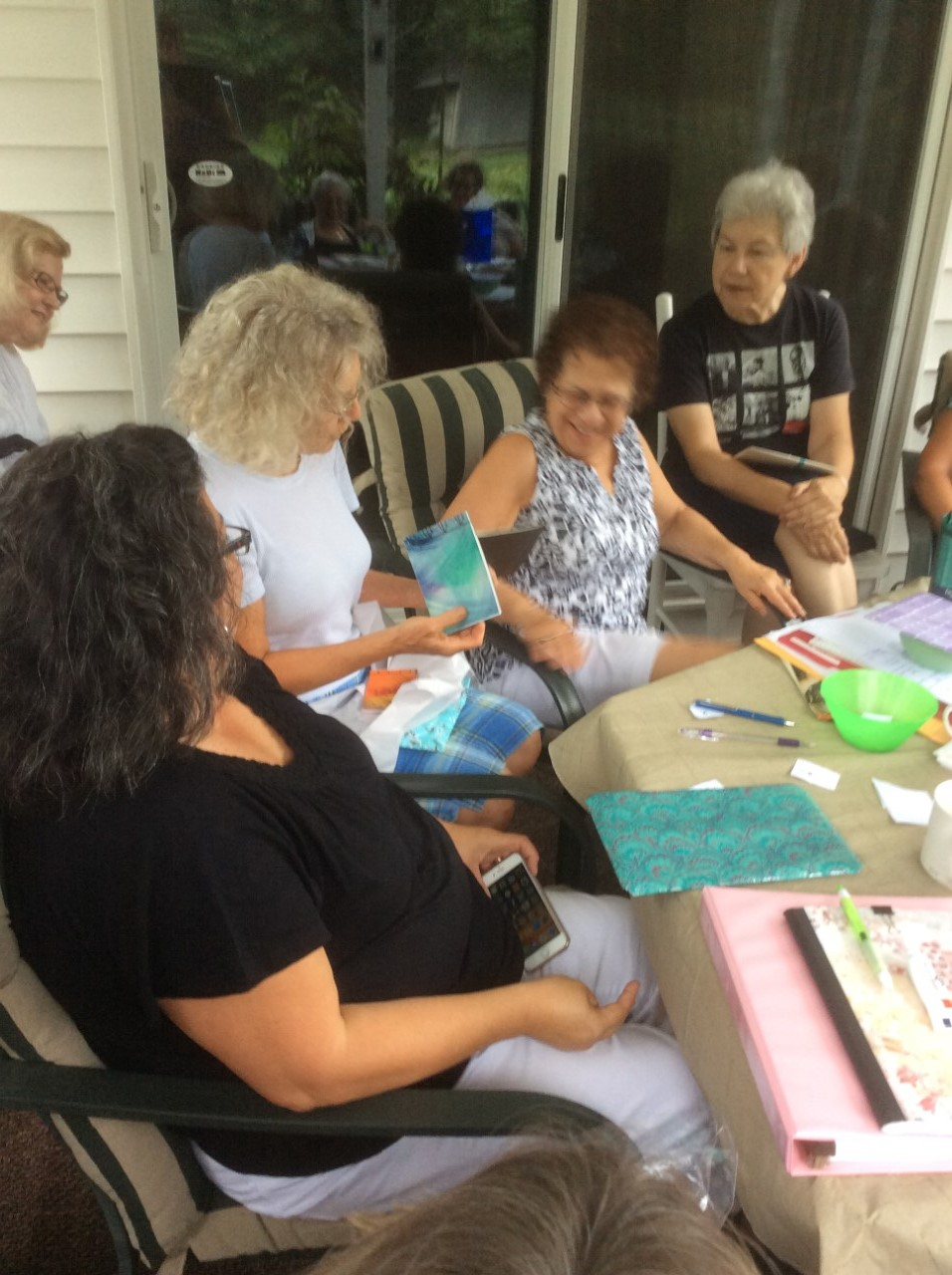 At the meeting part we discussed upcoming items like paste paper day on september 10 a workshop with lisa leblanc on october 8 october and november
