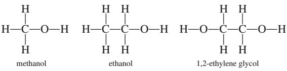 Struktur 2 dimensi metanol, etanol dan etilen glikol