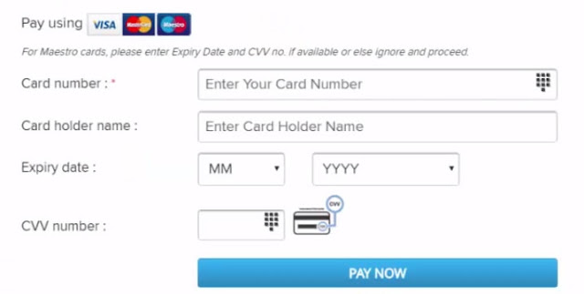 Card Details Required for paying bsnl bill online