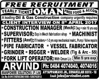 Free Recruitment to Oil & Gas Construction Company in Oman