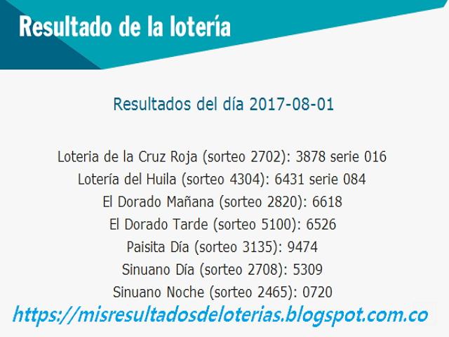 Como jugo la lotería anoche | Resultados diarios de la lotería y el chance | resultados del dia 02-08-2017