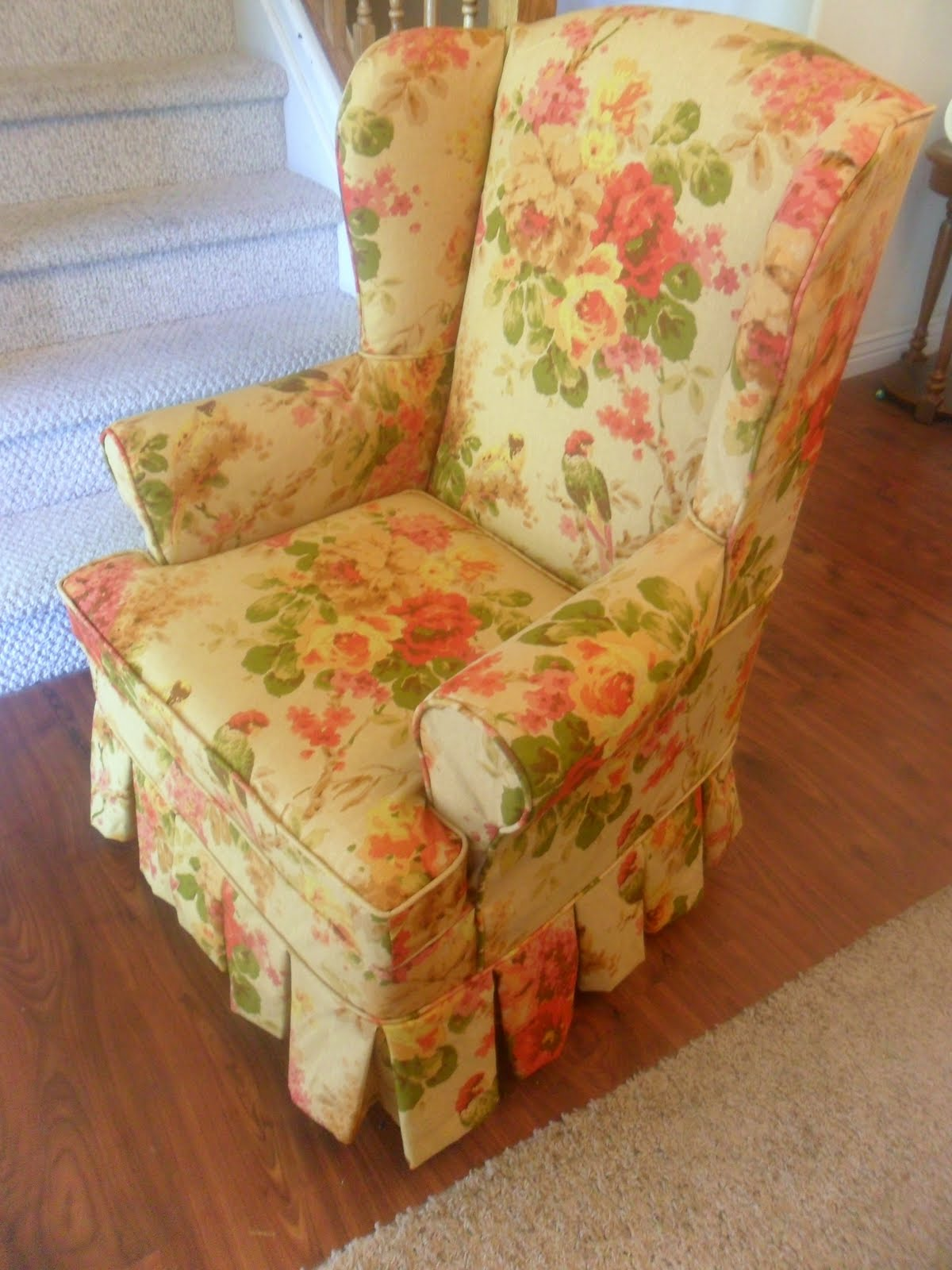 Floral Wingback Chair With Boxpleat Skirt And Out Of Town Until July 11th