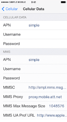 Simple Mobile APN Settings for iPhone 6