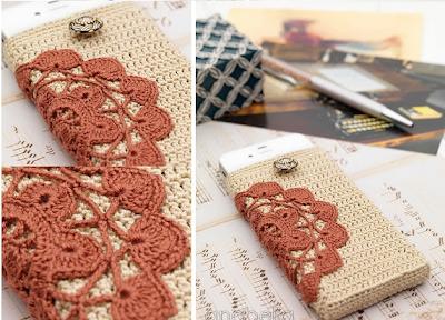 Funda de crochet para teléfonos móviles