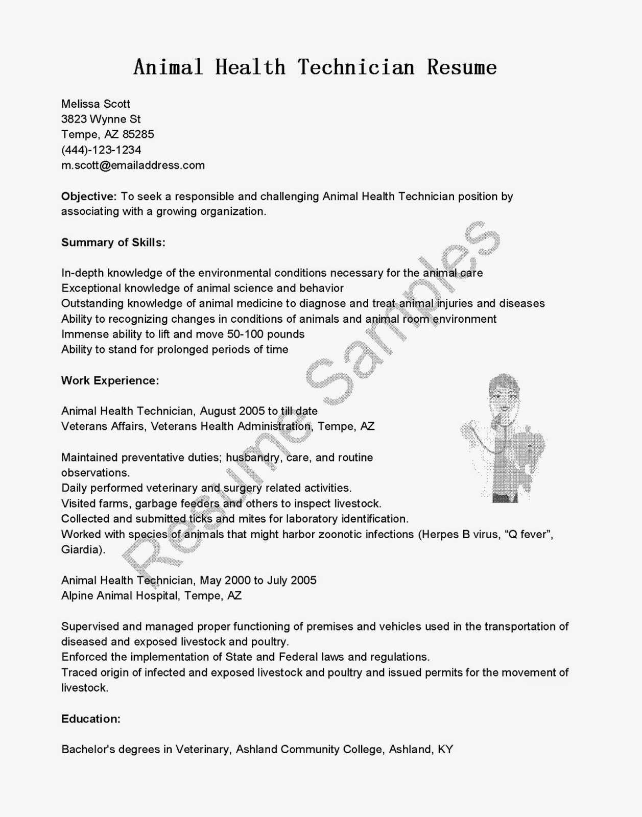 resume samples  animal health technician resume sample