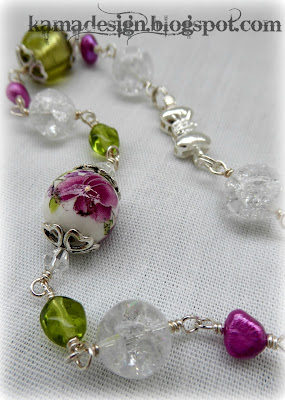 Glass wire summer meadow necklace
