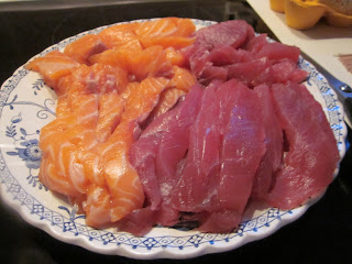 Sliced salmon and tuna