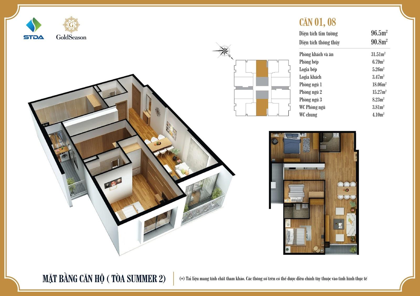 Thiết kế chi tiết mặt bằng căn hộ số 01 và 08 diện tích 96,5m2 - GoldSeason