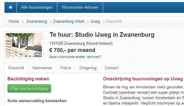 Studio te huur in zwanenburg amsterdam vorkassebetrug fraud scam - Te huur studio m ...