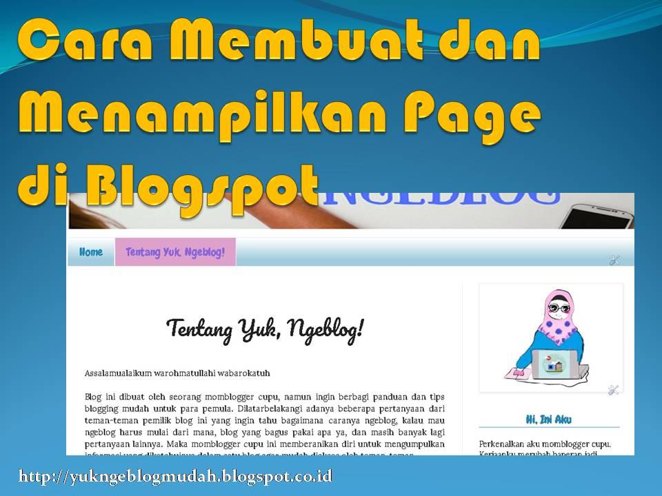 cara membuat dan menampilkan page di blogspot