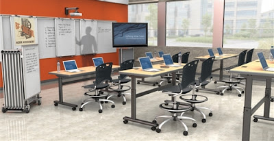 Height Adjustable Tables In A Training Room