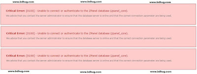 Unable to connect or authenticate to the ZPanel database