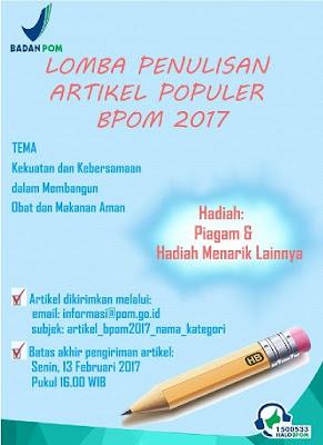 Lomba Penulisan Artikel Populer HUT BPOM 2017