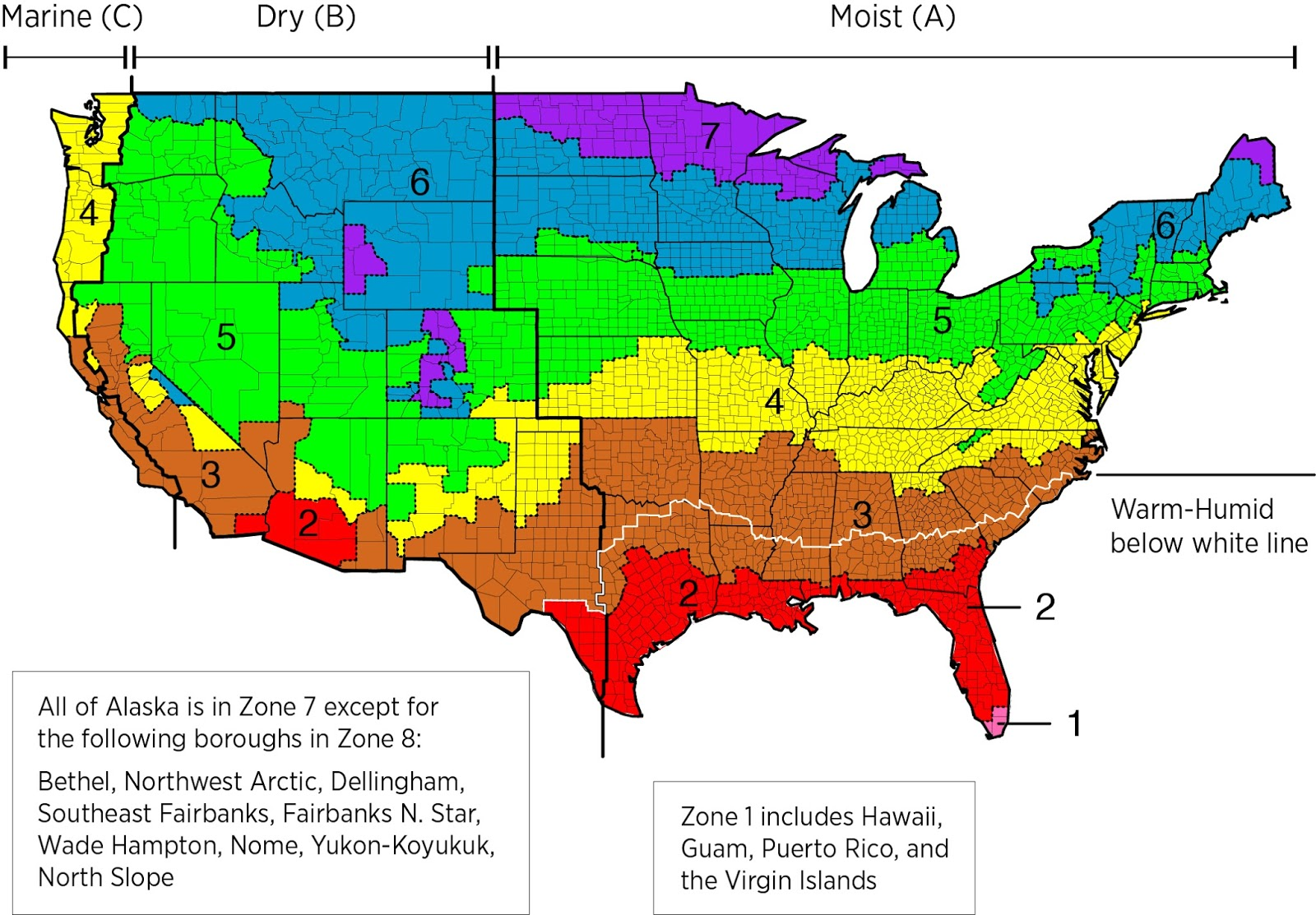 Climate zones of the U. S. (International Energy Conservation Code)