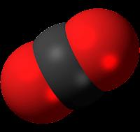 représentation d'une molécule de dioxyde de carbone (CO2), principal gaz à effet de serre d'origine humaine