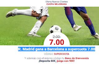 Marathonbet ¡Supercuota 7.00 + Bono de Bienvenida en el Real Madrid vs Barcelona 23 diciembre