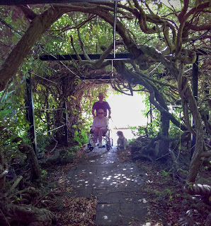 Mr pushes Granma Grace in her wheelchair through a tunnel of wisteria