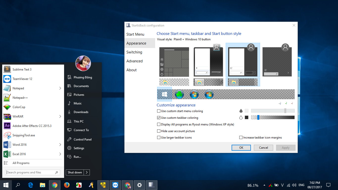 StartIsBack++2.7.1 Pre Activated - Làm trong suốt thanh taskbar cho Windows 10