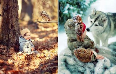 Bebe y perro en la nieve