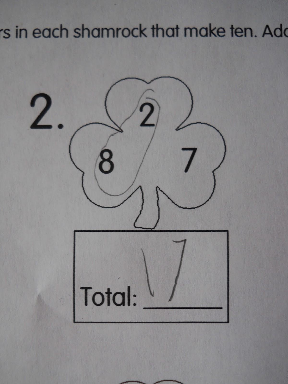 Mrs T S First Grade Class Shamrock Math