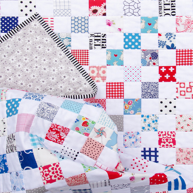 Red White Blue Postage Stamp Quilt - Binding | Red Pepper Quilts 2016