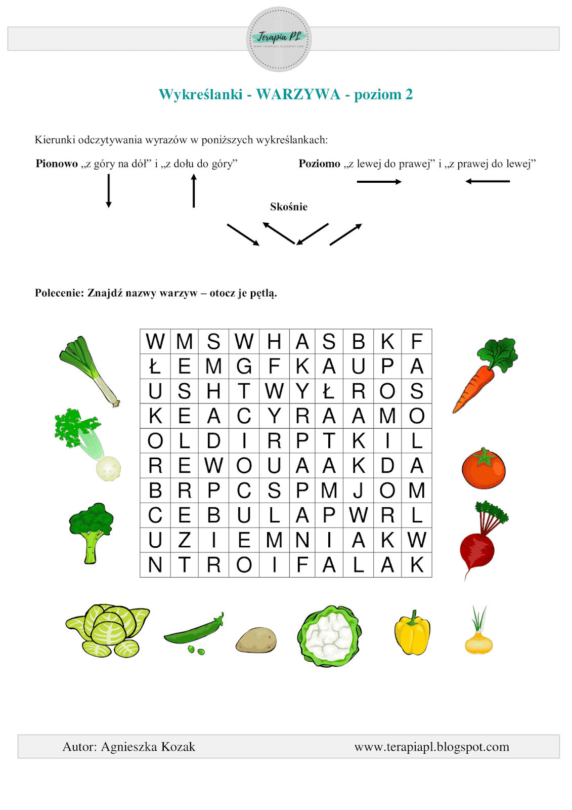 Terapia PL: Wykreślanka: owoce i warzywa