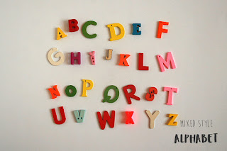 Mixed style  abc letters for alphabet games, sensory bins