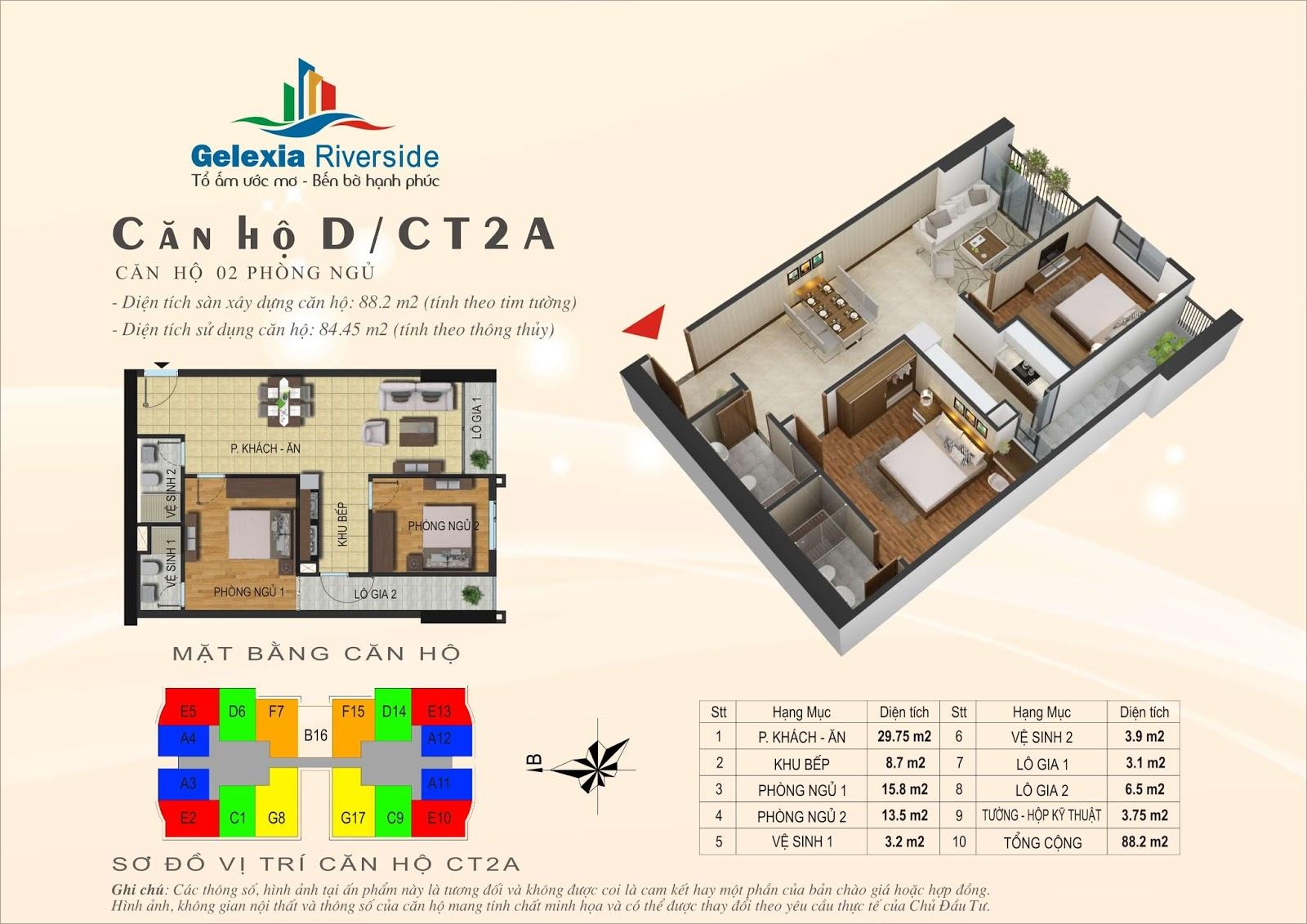 Mặt bằng căn hộ 88,2 m2 tòa CT2A - Gelexia Riverside