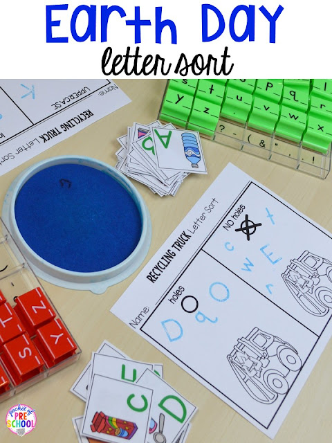 Earth Day recycling truck letter sort. Plus FREE Earth Day vocabulary posters! Perfect for preschool, pre-k, or kindergarten.