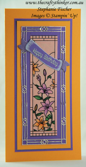 #thecraftythinker #stampinup #cardmaking #diecutting #altereddiecut #gracefulglass , Graceful Glass Vellum, Stained Glass die, enlarging the Stained Glass frame, cutting an oblong frame with a square die, Stampin' Up Australia Demonstrator, Stephanie Fischer, Sydney NSW