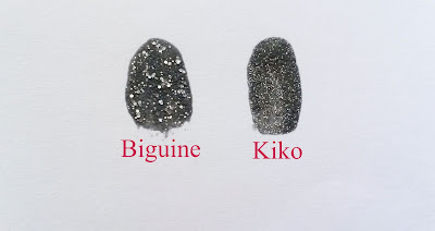 Les vernis Gloss&Shock Power Biguine Precious black Sugar Mat Kiko starry back swatches