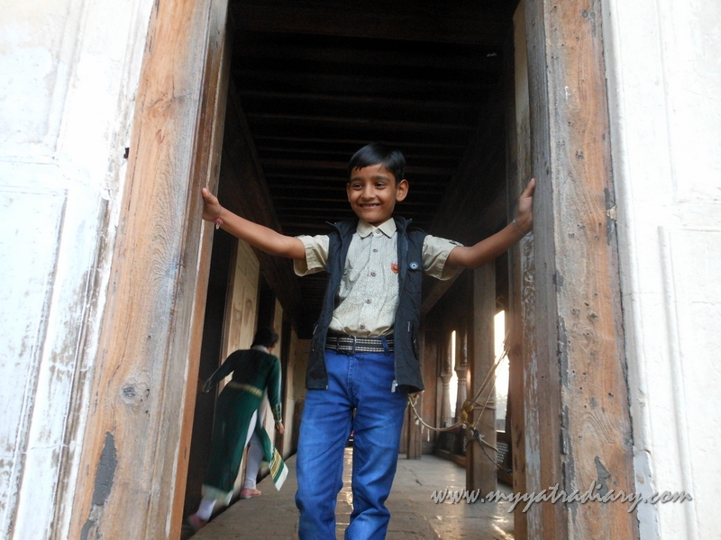 A kid gives a pose at Shaniwar wada fort, Pune