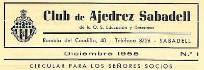 Cabecera del Boletín nº 1 del Club Ajedrez Sabadell