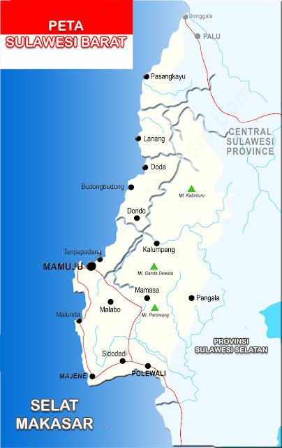 Peta Sulawesi Barat Lengkap 6 Kabupaten