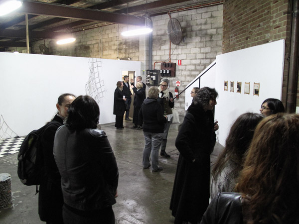 "Crowd with ""Power Play"" by Sally Clark, winter art opening at Factory 49 Marrickville 2012."