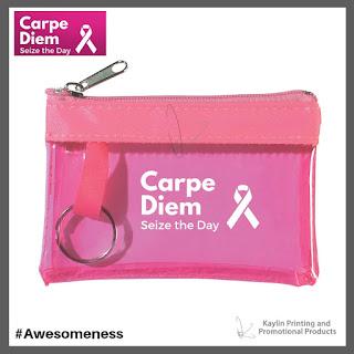 Promotional Pink Ribbon Coin Wallet Key Tag