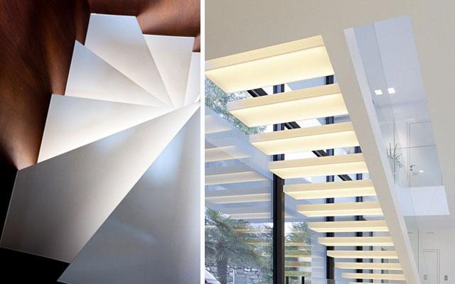 Marzua ideas para decorar escaleras con luz - Lamparas de escalera ...