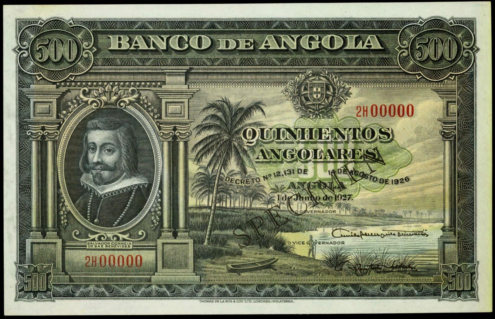Angola 500 Angolares banknote 1927 Salvador Correia