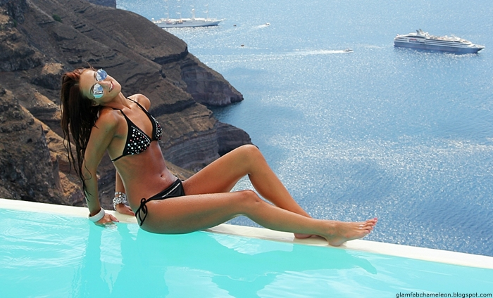 Santorini island best bikini looks and outfits for beach and pool