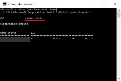 Come ricavare il SID utente di Windows 10