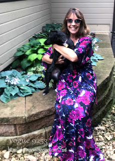 Sharon Sews Holds Tandy While She Wears Vogue 9253 Maxi Dress