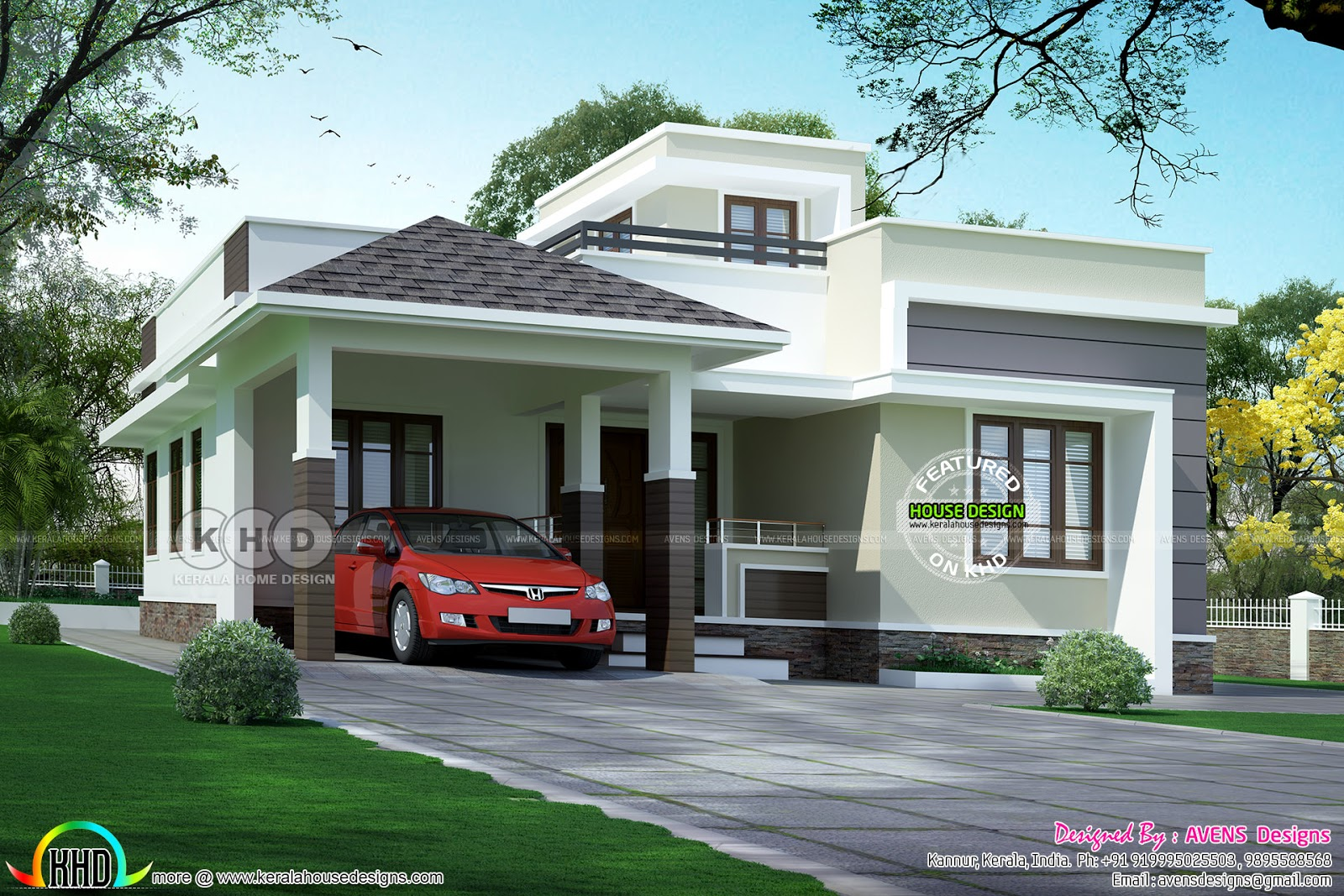 Small family home design by avens designs kerala home for Family home design