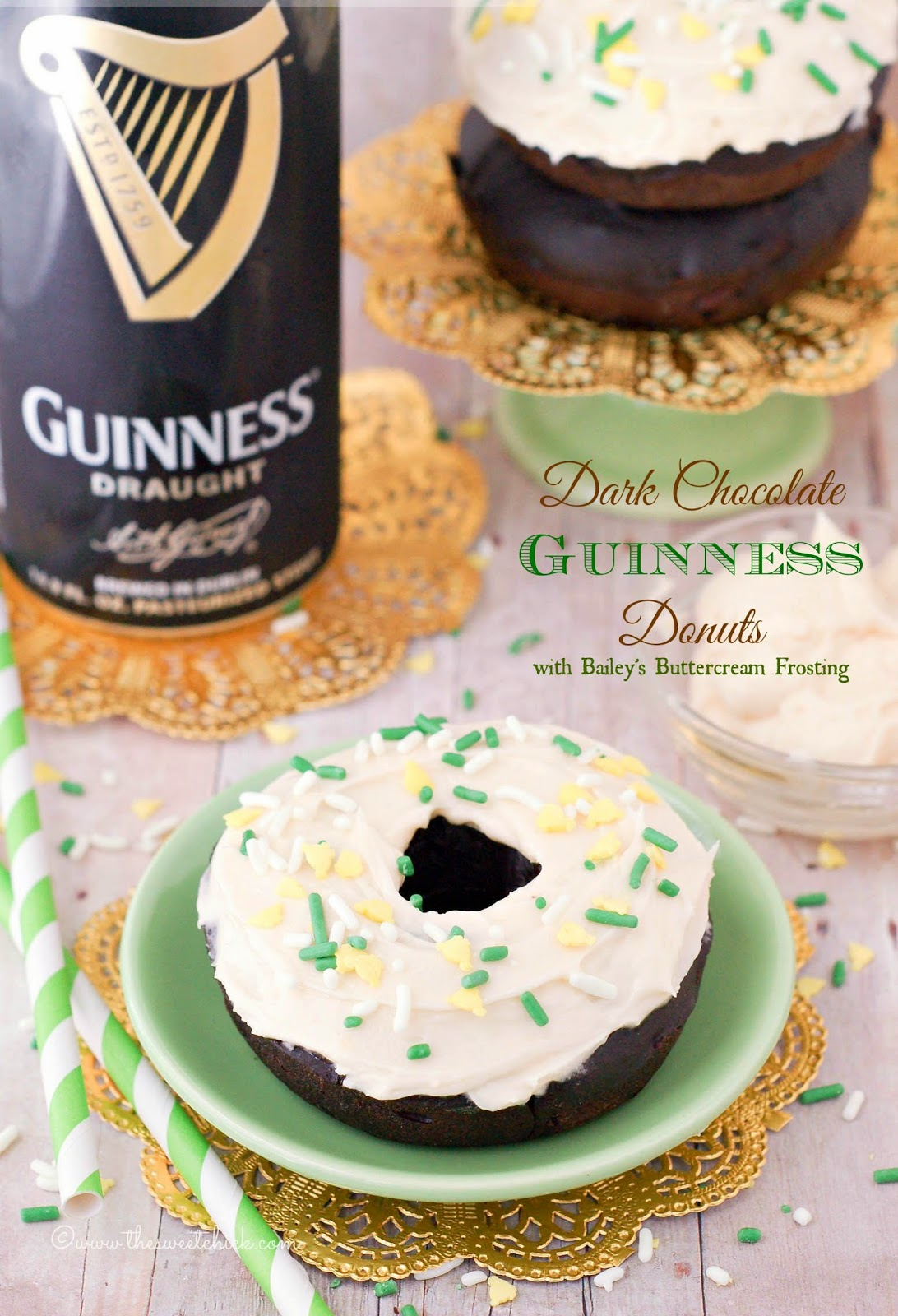 Dark Chocolate Guinness Donuts with Bailey's Buttercream Frosting by The Sweet Chick