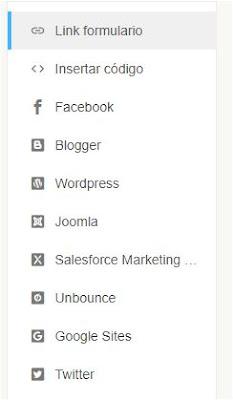 Redes sociales donde insertar el formulario
